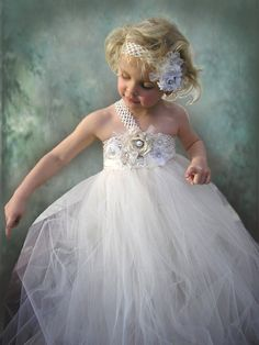 On sale this week Flower Girl Dress  Ivory Tulle by Jillybeantutus