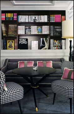 Designer look: perfectly styled bookshelves & a pair of houndstooth chairs
