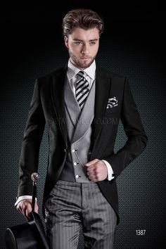 Black tuxedo jacket with grey pants and double-breasted vest SHOP IT @ www.ottavionuccio.com