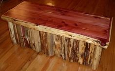 Amish Rustic Log Cedar Chest Trunk Wooden Storage Blanket Box Solid Wood 4'