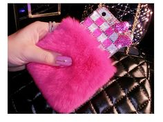 New Arrivals hot winter rabbit hair minion bling cell phone cases rabbit fur perfume bottle cases For iphone 6 6plus