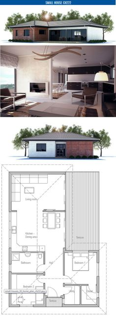 Small House Plan to narrow lot with two bedrooms, open plan, vaulted ceiling in the living area, big windows. Floor area: 1023 sq ft, Cost to Build: from $ 90 000