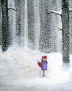 Snow Fox  Original Painting by johanna wright