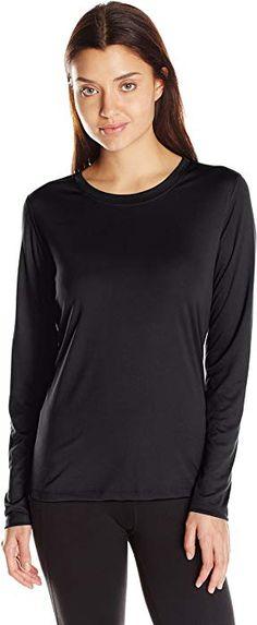 ce2202ab8251 Hanes Women's Sport Cool Dri Performance Long Sleeve Tee, Black, X Large at Amazon  Women's Clothing store: