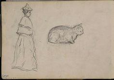Edmond-Joseph Massicotte, Études d'un personnage féminin et d'un chat, entre 1899 et 1901. Mine de plomb sur papier, 18 x 25,8 cm. Collection MNBAQ. #mnbaq #MuseumCats
