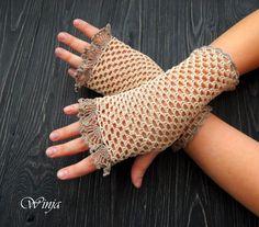 Manoplas de algodón, guantes sin dedos, guantes de algodón, guantes de ganchillo, guantes de Novia de encaje, guantes tejidos, guantes marfil, boho mitones de ganchillo