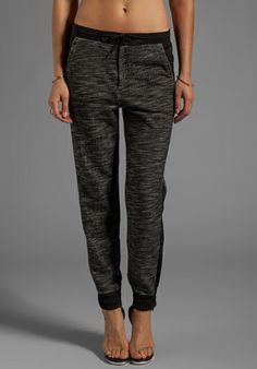 T by Alexander Wang French Terry Track Pants With Matte Nylon Detail in Black