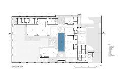 Ground level floor plan of modern mansion