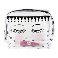 Miss Etoile Cosmetic Clear Plastic Travel Bag Medium Eyes And Dots ($25) ❤ liked on Polyvore featuring beauty products, beauty accessories, bags & cases, travel toiletry case, makeup purse, cosmetic purse, travel bag and toiletry kits