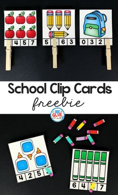 School Clip Cards Printable is great math activity for students to practice numbers and counting. This free printable is perfect for preschool, kindergarten, and first grade students.