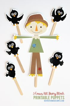 5 Crows All Shiny Black Fall Puppets Activity