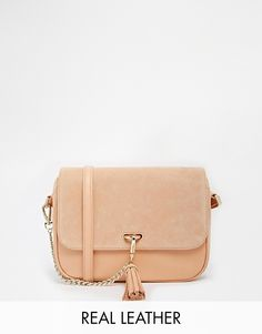 Reiss Leather Across Body Bag with Tassel and Chain