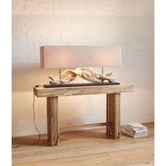 Tischleuchte Wood, Landhausstil, Holz, Leinen #miavilla #tablelamp #lamps #lights