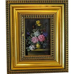 Flower painting, oil on wood, signed and dated at the early from chateau on Ruby Lane Ruby Lane, Flower Vases, Colorful Flowers, Art Pictures, Pink Roses, Wood Signs, Antique Silver, Street Art, Objects