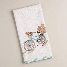 Embroidered Squirrel on Bike Kitchen Towel | World Market