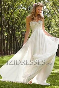 A-Line Sheath/Column Strapless Sweetheart Chiffon Wedding Dress - IZIDRESSES.COM at IZIDRESSES.com