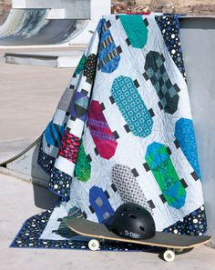 Kickflip: Create a cool skateboard quilt for your favorite tween. Designed by: Denise Starck, QM Graphic Designer Skill Level: Easy Technique: Piecing Size: Twin, x Appears in Quiltmaker May/June This is a super cool quilt for a guy! Quilting Projects, Quilting Designs, Sewing Projects, Art Quilting, Boys Quilt Patterns, Quilting Patterns, Quilting Ideas, Boy Quilts, Scrappy Quilts