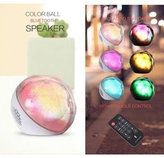 Crystal Ball Colorful light Portable Wireless Bluetooth Speaker With Remote Control Sale - Banggood.com