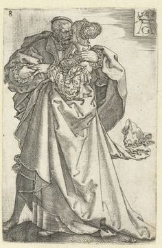Kussend paar, Heinrich Aldegrever, 1538