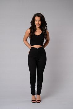 Super High Waist Denim Skinnies - Black