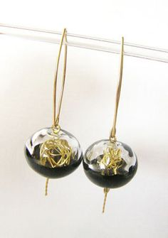 lampwork glass earrings. Transparent and black hollow by anatglass