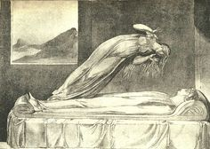 "William Blake Drawing ""The soul hovering over the body reluctantly parting with life "" (by ElfGoblin)"