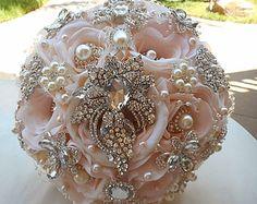 ROMANTIC BROOCH BOUQUET Pink and Silver by Elegantweddingdecor