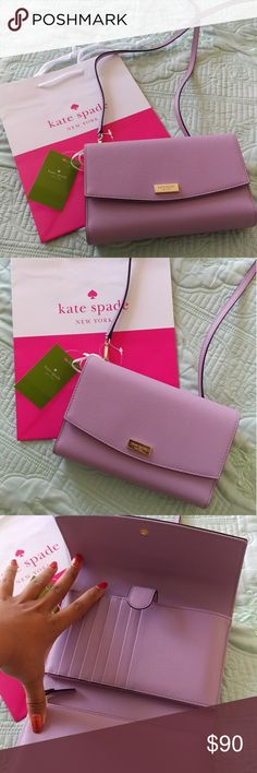 Kate spade laurel way winni crossbody wallet bag Brand new with tags and original packaging. Converts from cross body or clutch. Fits wallet materials and phone and light essentials. Light blush lavender lilac pink petal color. Gorgeous classy saffiano leather texture. Shops with Kate Spade small gift bag as shown. Bundle to save. kate spade Bags Crossbody Bags