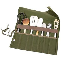 Keep all your camp utensils organized and within reach. Tie our Utensil Roll to a tree for easy access then simply roll up and tie for a compact bundle. Made in Olive Drab. All other colors made to order. Guaranteed for life.
