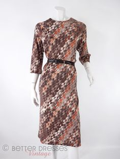 Vintage 1970s Day Dress in Brown Geometric Print Secretary Shift Dress  med lg by BeeDeeVintage