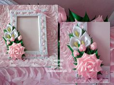 Very pretty for a picture album Satin Ribbon Flowers, Ribbon Art, Diy Ribbon, Ribbon Crafts, Flower Crafts, Diy Flowers, Fabric Flowers, Flower Diy, Wired Ribbon