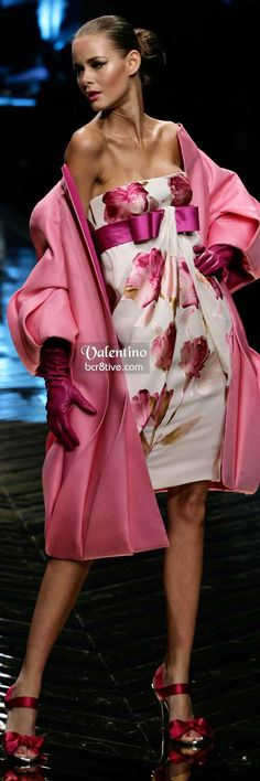 Floral Valentino with Pink Overcoat and Gloves