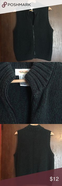 Talbots Zip Up Cardigan Sweater Vest Talbots women's zip up cardigan sweater vest. Navy blue and green variegated colors, EUC excellent used condition, size M medium Talbots Sweaters