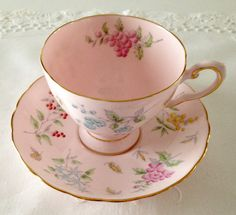 Beautiful Pink Floral Tuscan China Tea Cup & by TheEclecticAvenue