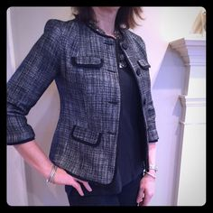 Navy Tweed Spring Blazer So chic with jeans and a t-shirt.  Fully lined but lightweight. Pretty contrast grosgrain ribbon detailing on pockets and collar.  Size 4P, but I'm a true size 6, and it fits me well. Talbots Jackets & Coats Blazers