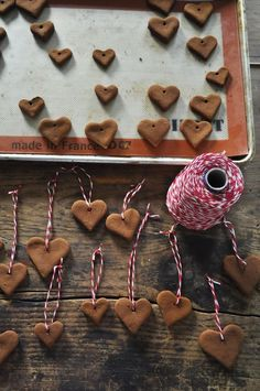 make cinnamon-applesauce hearts to decorate table. Perfect color for rustic wedding