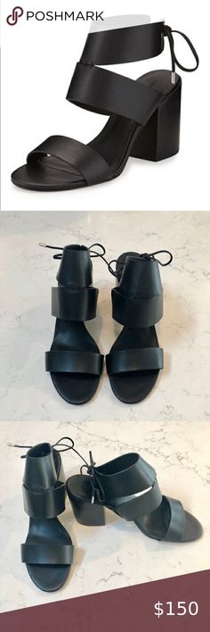 Rebecca Minkoff Christy Leather Sandal SZ … Rebecca Minkoff Christy Black Leather Sandal     - Size: 10 - 3.3 Stacked Blocked Heel - Strap Banda open toe - Self-tie ankle strap - Padded footbed - Smooth outsole - Christy is imported Rebecca Minkoff Shoes Sandals