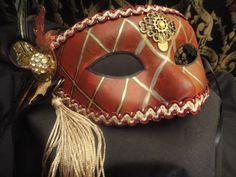 SALE Crimson Steampunk Mask - Red Venetian Carnival Renaissance Romance Marti Gras Masquerade Costume Cos play. $22.00, via Etsy.