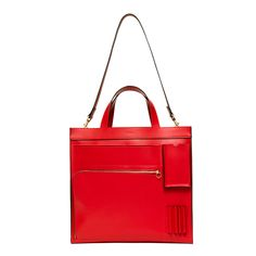 Inside-Out-Pocket Tote in Leather with Tonal Trim - Kate Spade Saturday | that color is too good to pass up!
