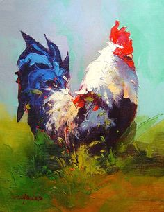 Tips To Stop Chickens From Pecking One Another – Chicken In The Shadows Rooster Painting, Rooster Art, Peacock Painting, Turtle Painting, Chicken Painting, Chicken Art, Colorful Paintings, Animal Paintings, Beautiful Artwork