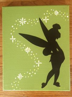 Tinkerbell Silhouette 8x10 Canvas by SilhouettesbyMegan on Etsy