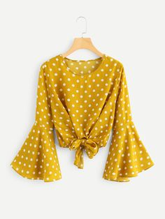 SHEIN offers Fluted Sleeve Polka Dot Knot Front Top & more to fit your fashionable needs. Spring Fashion Outfits, Trendy Fashion, Style Fashion, Fall Fashion, Fashion Trends, Polka Dot Blouse, Polka Dots, Romwe Swimwear, Knot Front Top