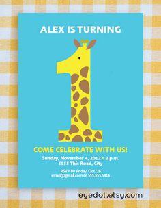 Baby's 1st Birthday Party giraffe invitation  choose by eyedot, $12.00