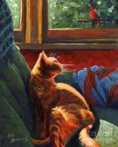 Birdie In The Window Painting by Pat Burns