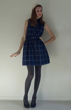 Vintage Paradise Bordeaux Vintage Checkered Dress, H&M Beaded Beret, Calzedonia Cable Knit Tights
