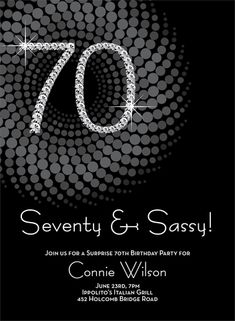 Diamond Numbers 70th Milestone Birthday Invitations By Noteworthy Collections