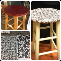 I used spray paint, Mod Podge, and paper from Michaels to re-vamp this bar stool!
