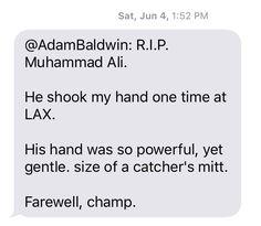 Adam Baldwin, Shake Hands, Muhammad Ali, His Hands