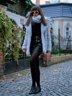 grey faux fur and leather skirt with zip: https://jointyicroissanty.blogspot.com/2016/11/grey-faux-fur-coat.html
