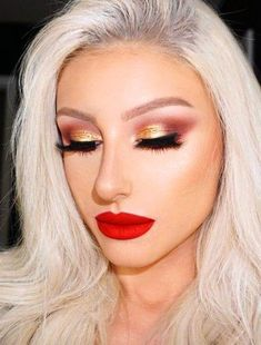 Red Lips + Contouring + Highlight + Lashes + Smooth Liner + Magenta Crease + Gold Eyelid